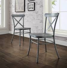distressed metal furniture. Distressed Metal Dining Chairs Set Of 2 Modern Farmhouse Country Kitchen  Silver Distressed Metal Furniture