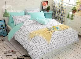 minimalist white grid reversible 4 piece cotton bedding sets duvet cover
