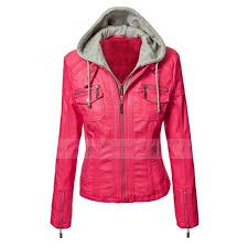 womens motorcycle pink faux leather jacket with hoo