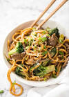 asian style ground beef and broccoli with noodles