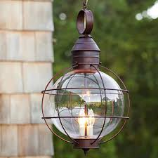 Outdoor Globe Pendant Light Iron Industrial Loft Outdoor Pendant Lamp Globe Multipurpose Hanging Lights For Garden Aisle With Glass Lampshade