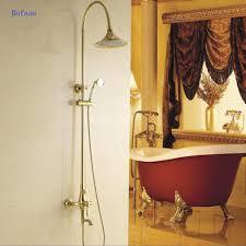 Us 27999 28 Offdofaso Kreative Design Messingniederschlag Grohe Dusche Wasserhahn Mit Handbrause Wand Montiert Goldene Badewanne Wasserhahn Dusche