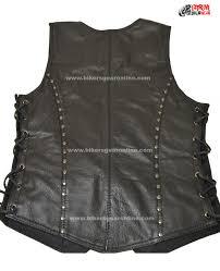vest black studded womens motorcycle studded black leather jacket