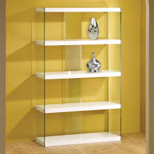 furniture rectangle glass and white wooden shelves bookcase on laminate flooring and yellow wall