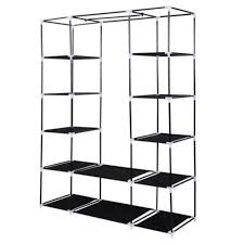 53 portable closet wardrobe clothes rack storage organizer with shelf black us