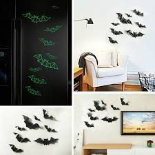 <b>3D</b> Luminous Bat Wall Sticker <b>Night</b> Light Wallpaper <b>Halloween</b> ...