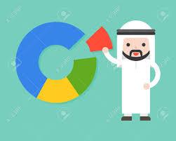 Cute Arab Businessman Pick One Piece From Pie Chart Flat Design