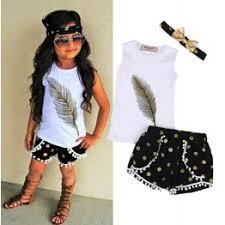 Fashion Sleeveless Kids Girl Clothes Tops T-shirt Shorts ... - Vova