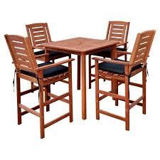 target patio bar set.  Patio Miramar 5pc Square Wood Patio Bar Height Dining Set  Cinnamon BrownBlack  CorLiving On Target D