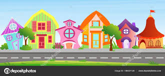 Vector Illustration Of Cartoon Houses In Bright Colors On