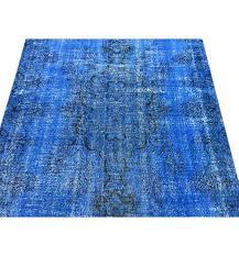 blue turkish rug color vintage distressed carpet and white