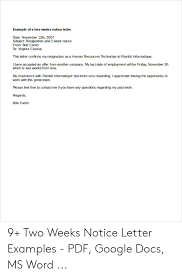 2 Week Notice Letter For Work Example Of A Two Weeks Notice Letter Date November 13th 2007