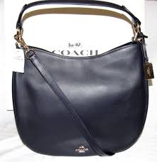 Coach Nomad Large Hobo Bag Purse Glovetanned Leather NEW NAVY BLUE 36026  2018