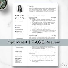One Page Resume With Photo Cv Template With Photo Creative Resume Template For Word Pages Instant Digital Download Modern Cv Design