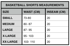 Basketball Shorts Size Chart Sizing Chart Elitedrip