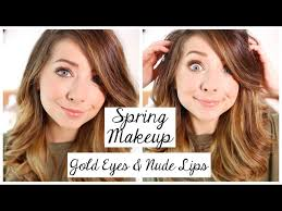 spring makeup tutorial gold eyes lips zoella