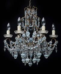 6 light italian 1920s floine chandelier with murano glass drops and turquoise glass bead and crystal