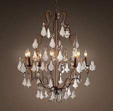 retro style lighting decoration with florian mercury glass chandelier medium decorative shiny sparkle crystal and nice bronze finished frame
