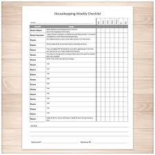 Housekeeping Weekly Checklist Cleaning Services Editable
