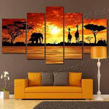 5 panel modern hand painted african safari landscape oil painting in safari canvas wall art  on safari canvas wall art with 20 best safari canvas wall art wall art ideas