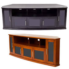 tvs black view a larger image of the plateau newport series corner wood tv cabinet with glass doors