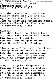 Good Old Hymns In Gethsemane Alone Lyrics Sheetmusic Midi Mp3