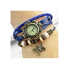 women girls erfly vintage braided leather bracelets watch dark blue 1