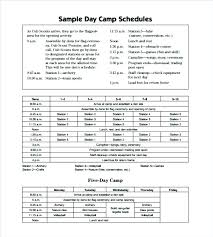 Summer Camp Daily Schedule Template Camp Schedule Templates Doc Free Premium Youth Football Template