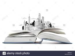 open book on the table with city sketch stock image
