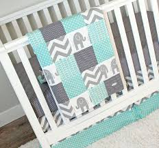 image of elephant baby quilt chevron