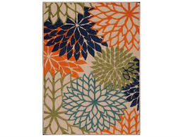 nourison aloha rectangular orange beige blue area rug