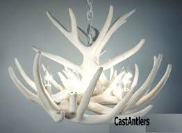 pure white faux antler chandelier real whitetail deer