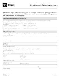 Employee Direct Deposit Authorization Agreement Free Td Bank Direct Deposit Authorization Form Pdf