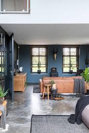 Vt Wonen Woonkamer Industrieel Nieuw Blauwe Muur Betonnen Vloer En