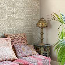 grandeco botanical moroccan tile pattern wallpaper retro fl textured motif ba2501