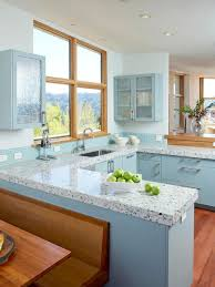 kitchen blue kitchen walls granite top eased edge profile gray wooden table base cabinet to