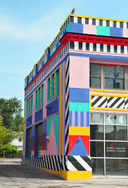 the artist s iconic geometric forms highlight some of the building s surviving historical features