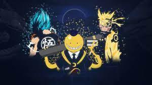 Goku (Dragon-Ball) Naruto and Koro sensei (Assassination Classroom)  [3840x2160] : wallpaper
