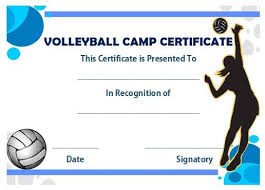 volleyball certificate template volleyball camp certificate volleyball certificates free