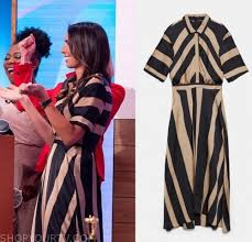 <b>Loose Women</b>: September <b>2019</b> Christine's Gold/<b>Black</b> Striped Dress