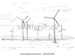 farm windmill drawing. Hand Drawn Windmills On The Background Of Mountains. Vector Illustration A Sketch Style. Farm Windmill Drawing R