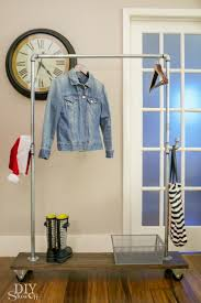 diy galvanized pipe and wood mobile coat rack on casters diyshowoff creator
