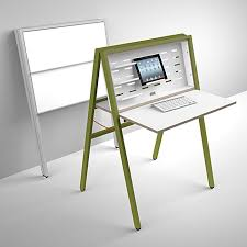 foldable office desk. the hidesk is a fully collapsible desk when folded closed front side which foldable office