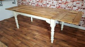 extendable rustic painted turned leg farmhouse dining kitchen table 5 5ft 8 5ft