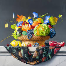 james aponovich still life with basket of fruits and vegetables