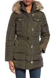 michael michael kors faux fur trim belted down feather fill coat