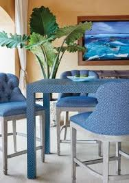 middleton bar stool in talisman woven fabric in blue wrapped dining table in maze grcloth wallpaper