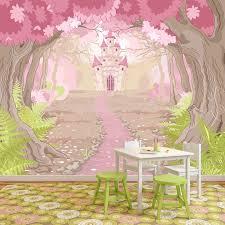 pink princess castle wall mural fairytale photo wallpaper girls bedroom decor