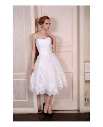 a line sweetheart tea length wedding dresses lace satin tulle