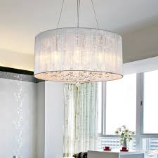LightInTheBox Modern Silver Crystal Pendant Light in Cylinder Shade, Drum  Style Home Ceiling Light Fixture Flush Mount, Pendant Light Chandeliers  Lighting ...